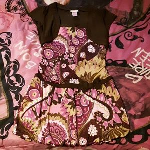 Extremely Me! Girls 14/16 brown, pink floral dres